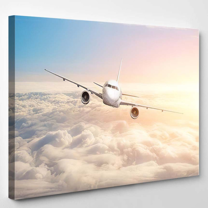 Passenger Aircraft Flying Above Clouds Horizon - Airplane Airport Canvas Art Print