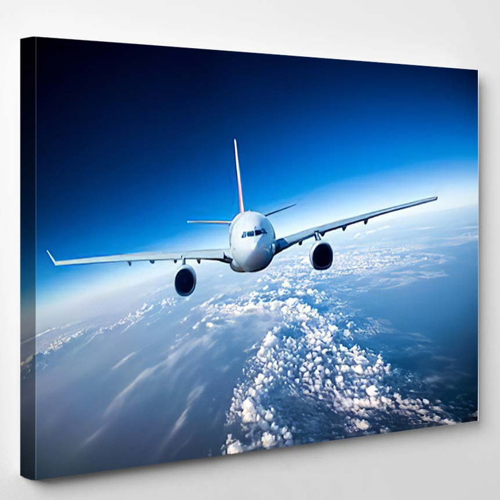 Passenger Airliner Flying Clouds - Airplane Airport Canvas Art Print
