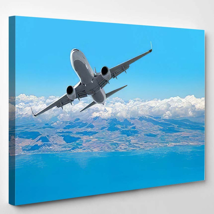Passenger Airplane Flying Blue Cloudy Sky - Airplane Airport Canvas Art Print
