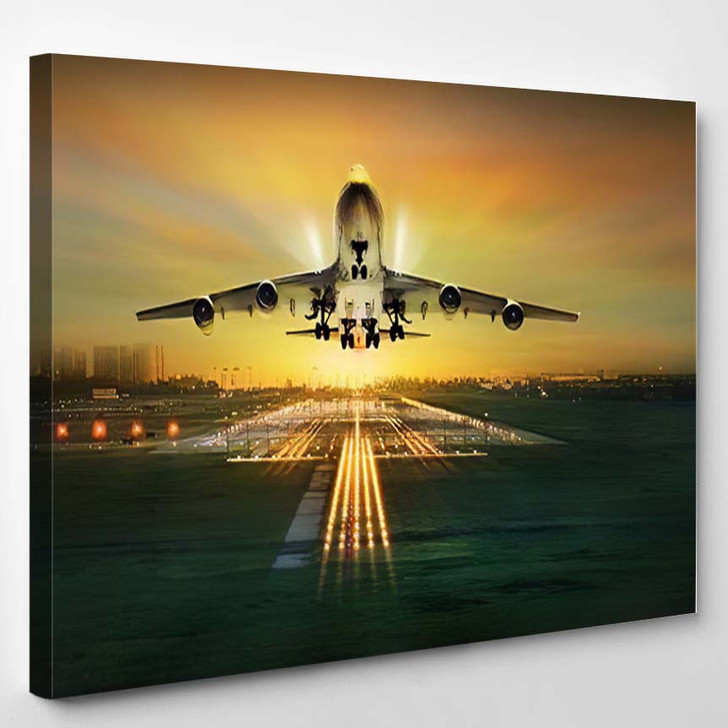Passenger Plane Fly Over Takeoff Runway - Airplane Airport Canvas Art Print
