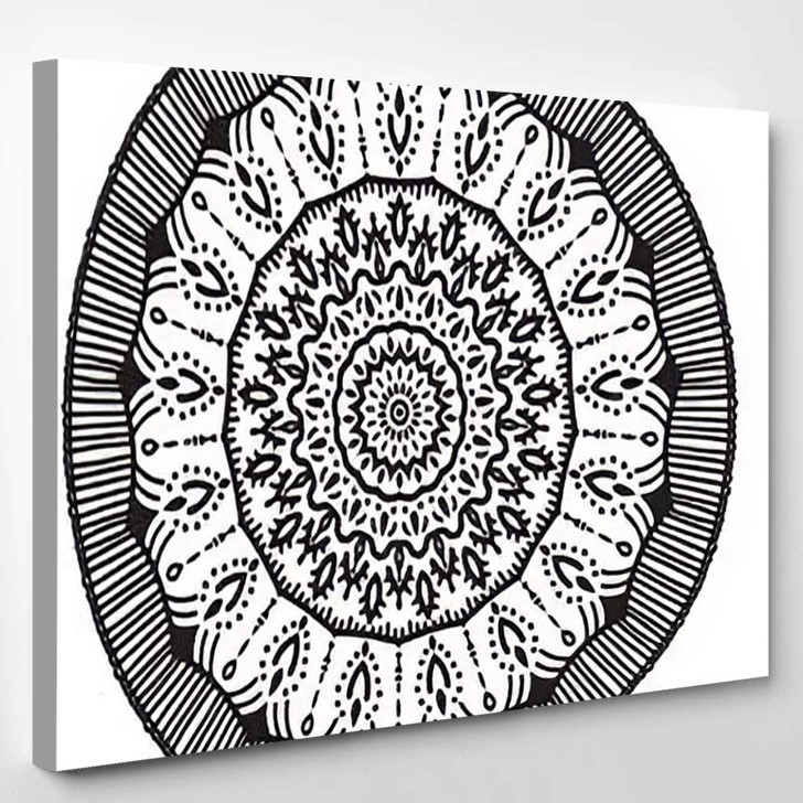 Abstract Mandala Graphic Design Decorative Elements - Mandala Canvas Art Print