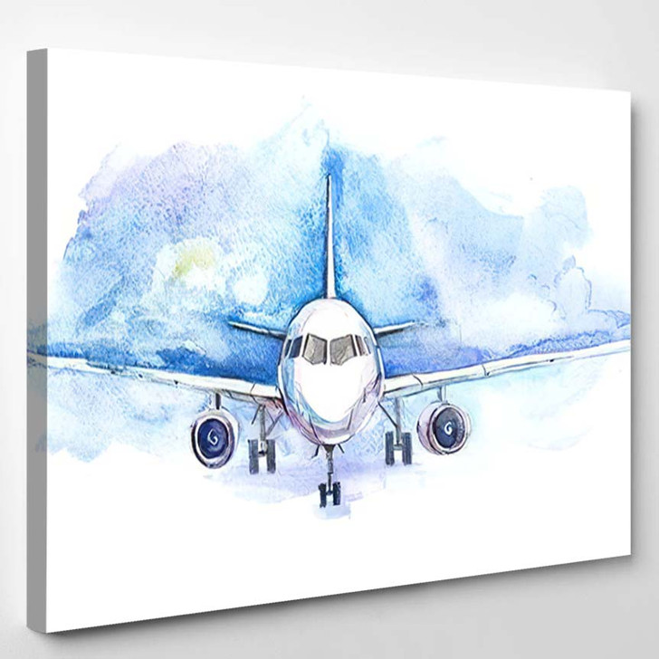 Passengers Airplane Flying Traveling Transport Business - Airplane Airport Canvas Art Print