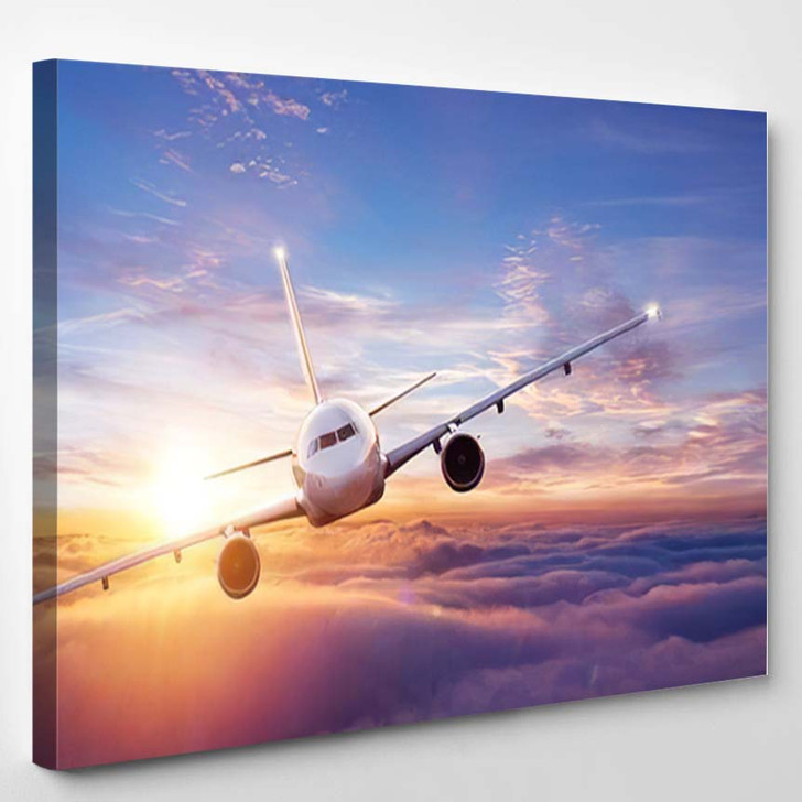 Passengers Commercial Airplane Flying Above Clouds - Airplane Airport Canvas Art Print