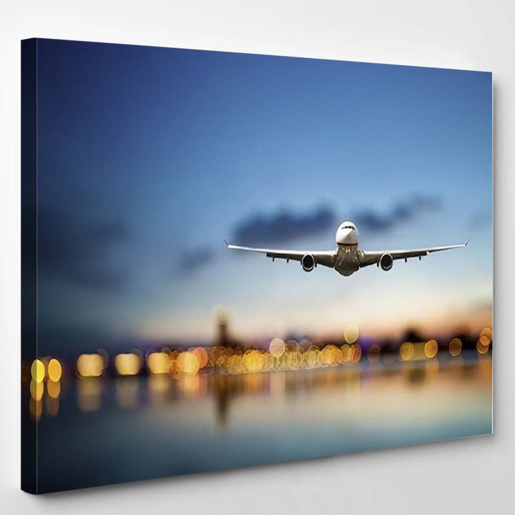 Perspective View Jet Airliner Flight Bokeh 1 - Airplane Airport Canvas Art Print