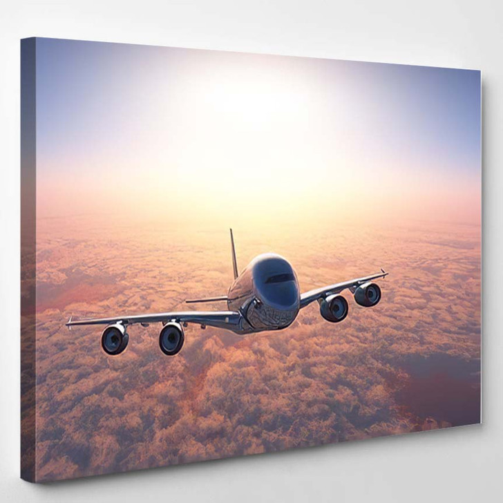 Plane Above Clouds3D Render - Airplane Airport Canvas Art Print