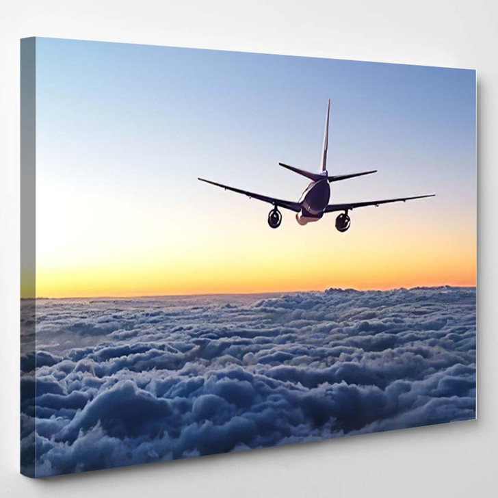 Plane Flying Away Sky - Airplane Airport Canvas Art Print