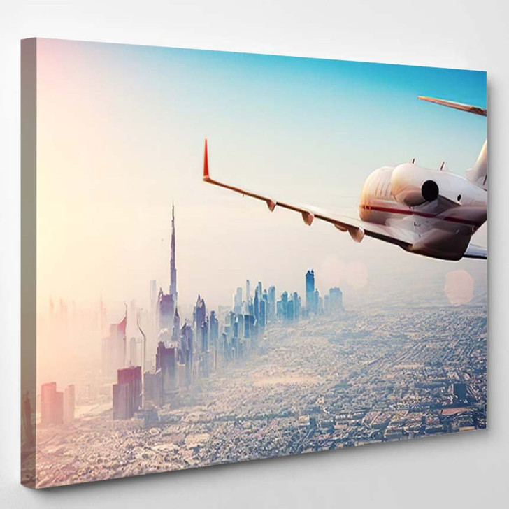 Private Jet Plane Flying Above Dubai 1 - Airplane Airport Canvas Art Print