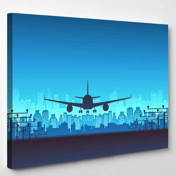 Silhouette Front View Passenger Airplane Landing - Airplane Airport Canvas Art Print