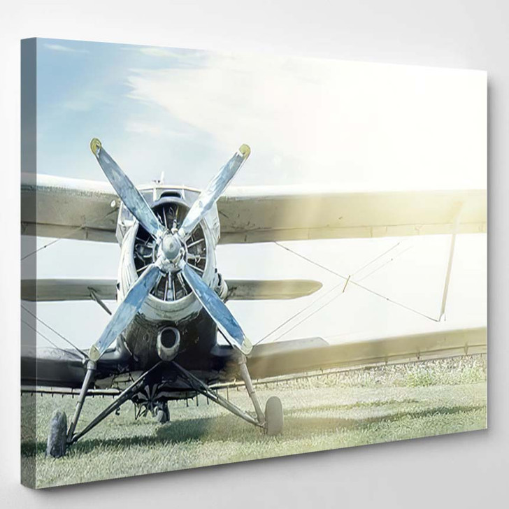 Small Blue White Plane On Background - Airplane Airport Canvas Art Print
