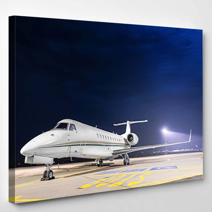 Small Private Airplane Airport Parking - Airplane Airport Canvas Art Print