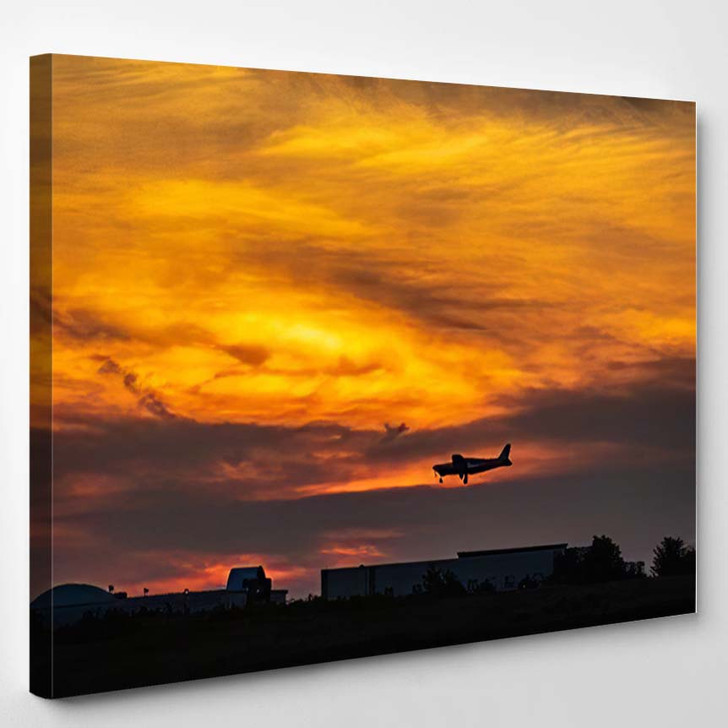 Small Singlepropeller Airplane Silhouette About Land - Airplane Airport Canvas Art Print