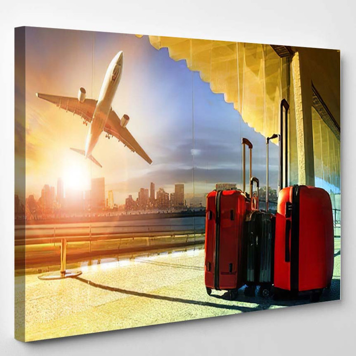Stack Traveling Luggage Airport Terminal Passenger - Airplane Airport Canvas Art Print