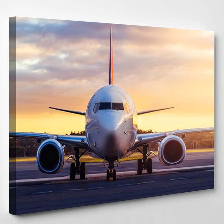 Sunset View Airplane On Airport Runway 1 - Airplane Airport Canvas Art Print