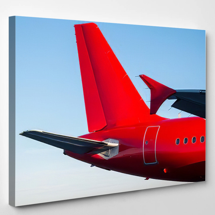 Tail Rear Passenger Airplane Red Color - Airplane Airport Canvas Art Print