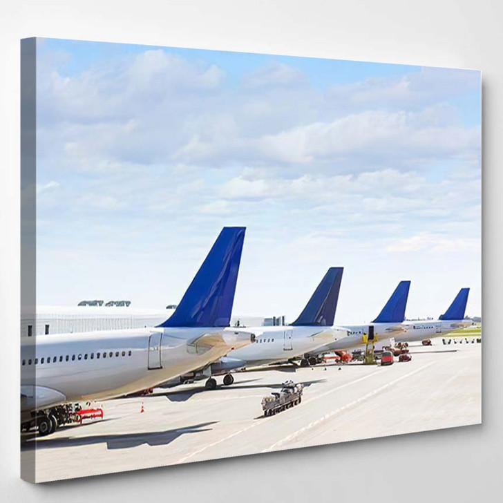 Tails Some Airplanes Airport During Boarding 1 - Airplane Airport Canvas Art Print