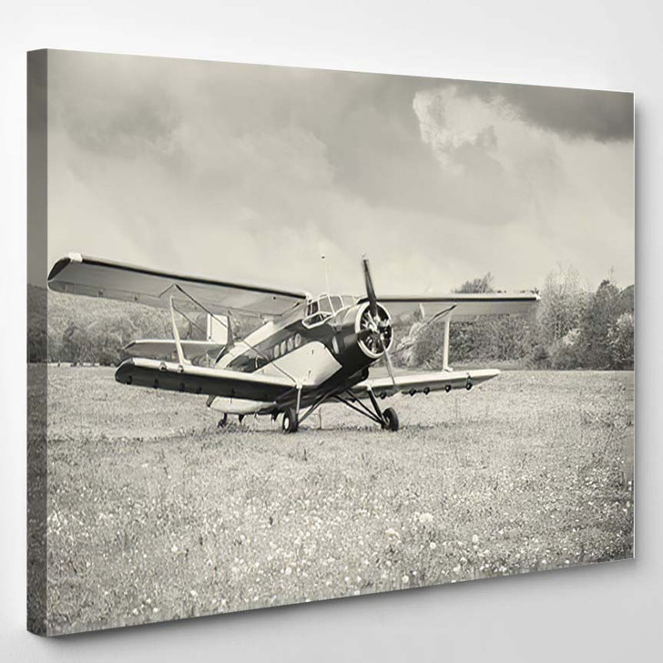 Taking Off Old Retro Plane Meadow - Airplane Airport Canvas Art Print