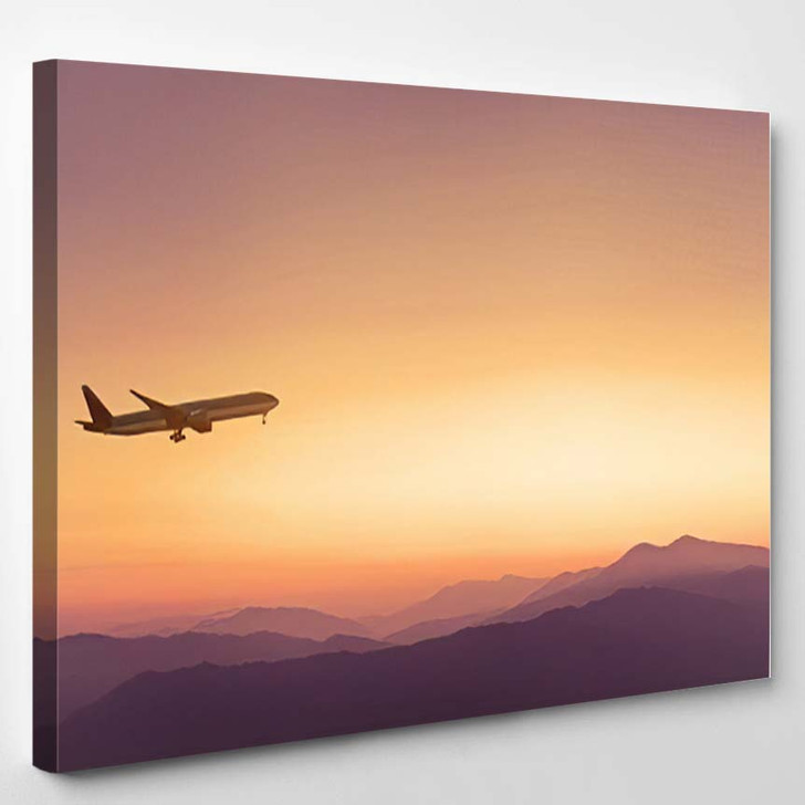 Travel Concept Background Airplane Sunset Sky - Airplane Airport Canvas Art Print