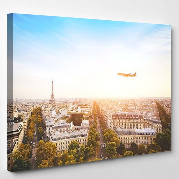 Travel France Airplane Flying Over Beautiful - Airplane Airport Canvas Art Print
