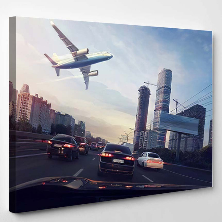 Urban Landscape Flying Plane Sky View - Airplane Airport Canvas Art Print
