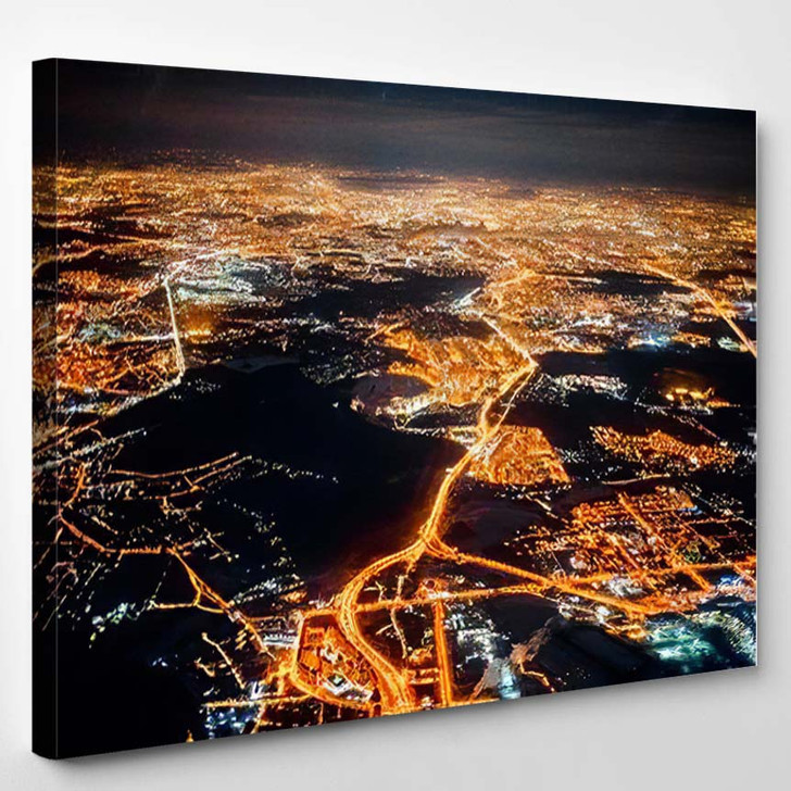 View Airplane Night Moon Plane Flying - Airplane Airport Canvas Art Print