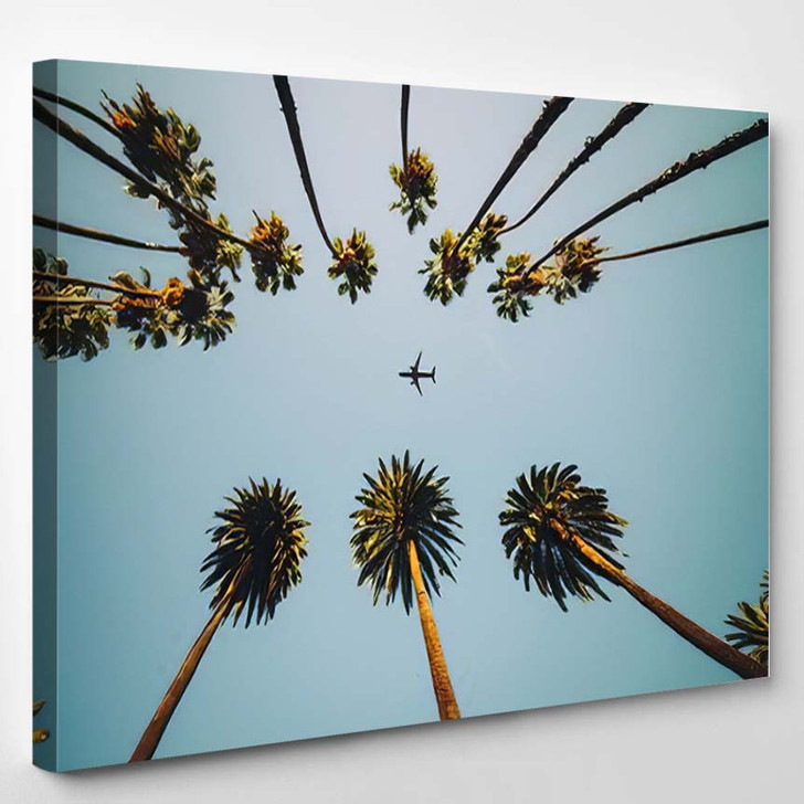 View Palm Trees Sky Aircraft Flying 1 - Airplane Airport Canvas Art Print