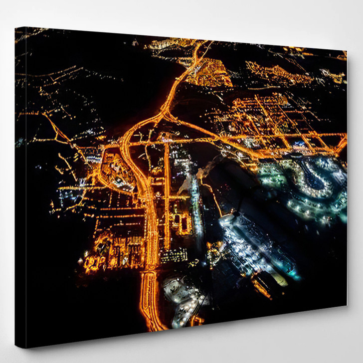 View Plane Night Moon Flying Over - Airplane Airport Canvas Art Print