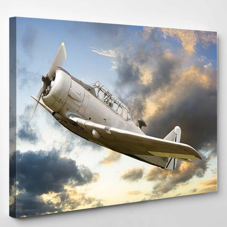 Vintage Historic Old War Aircraft Background - Airplane Airport Canvas Art Print