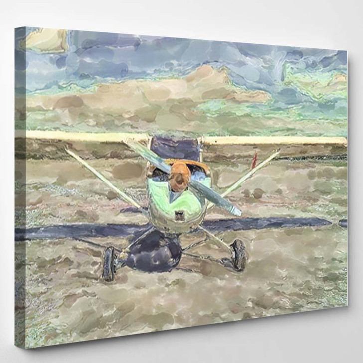 Watercolor Illustration Front View Historical Small - Airplane Airport Canvas Art Print