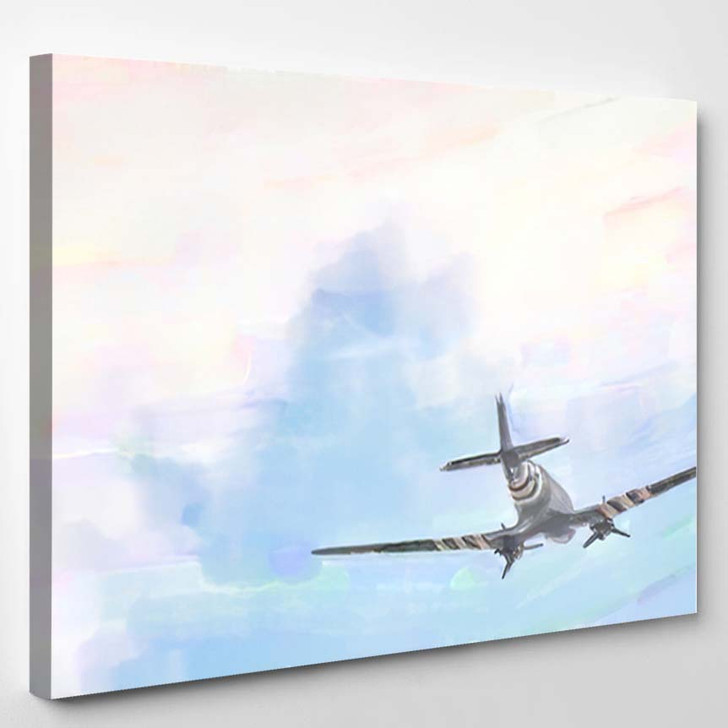 Watercolor Illustration Historical War Plane Flying - Airplane Airport Canvas Art Print