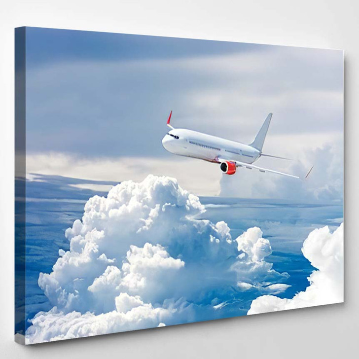 White Airplane Flying Above Cloud - Airplane Airport Canvas Art Print