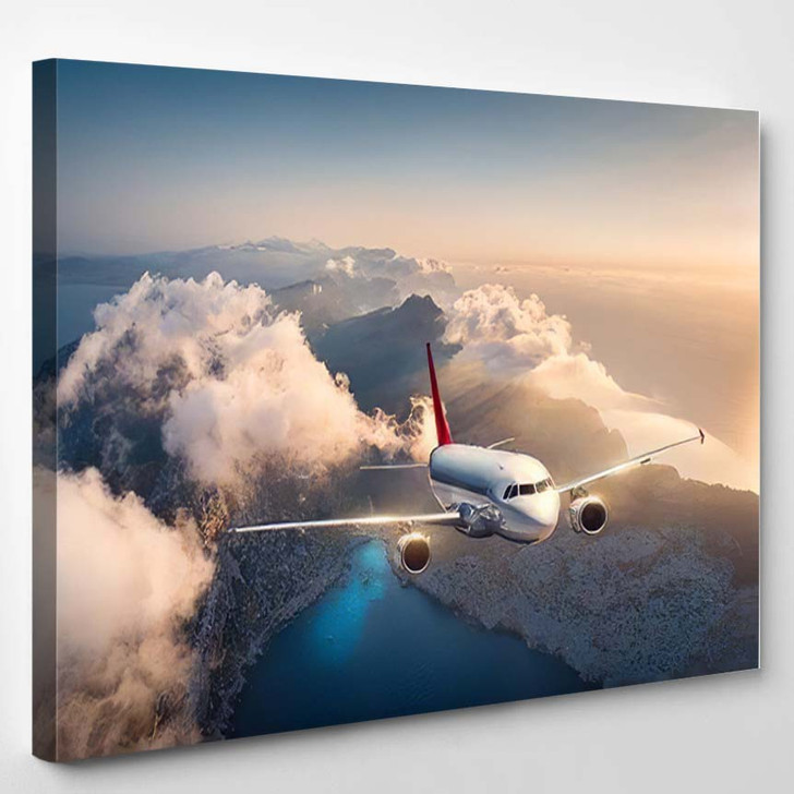 White Airplane Flying Over Mountains Low - Airplane Airport Canvas Art Print