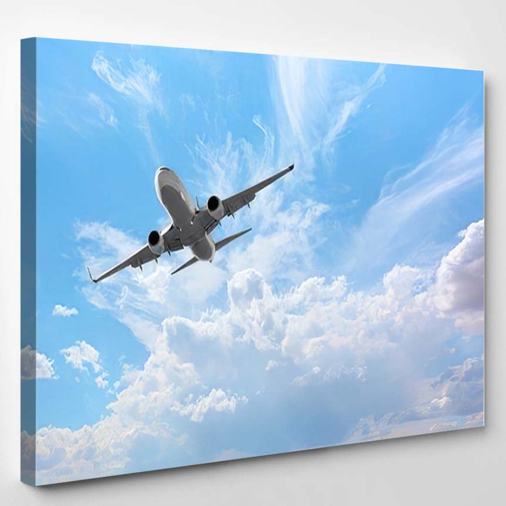 White Passenger Airplane Clouds Travel By - Airplane Airport Canvas Art Print