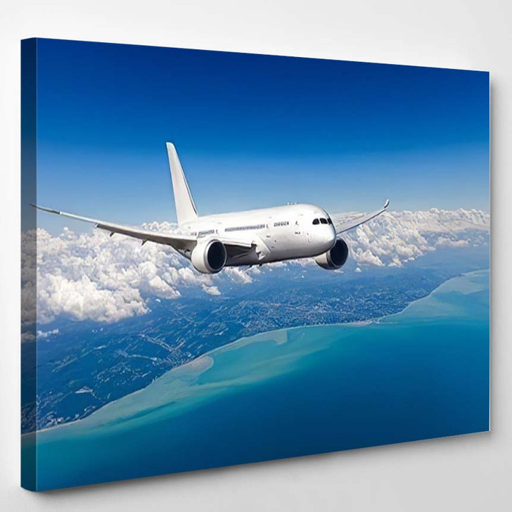 White Passenger Widebody Plane Aircraft Flying - Airplane Airport Canvas Art Print