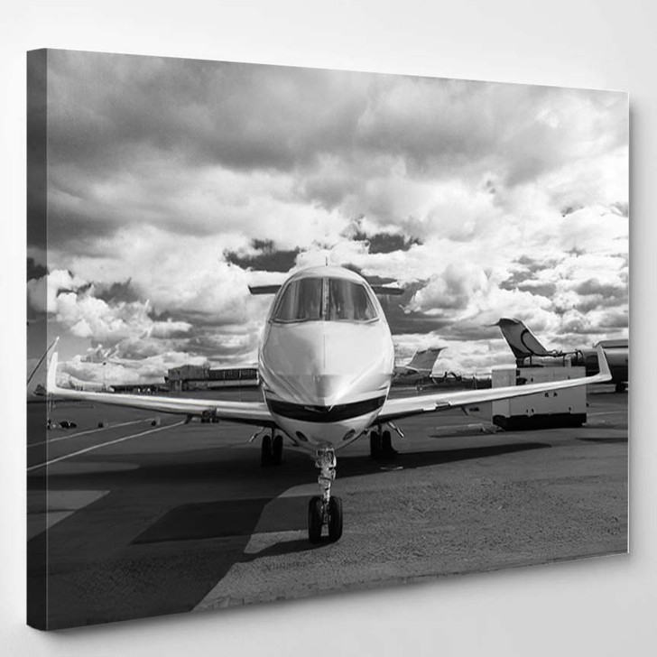 White Reactive Private Jet Front Landing - Airplane Airport Canvas Art Print