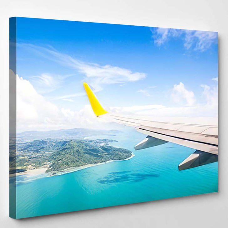 Wing Airplane Flying Above Ocean - Airplane Airport Canvas Art Print