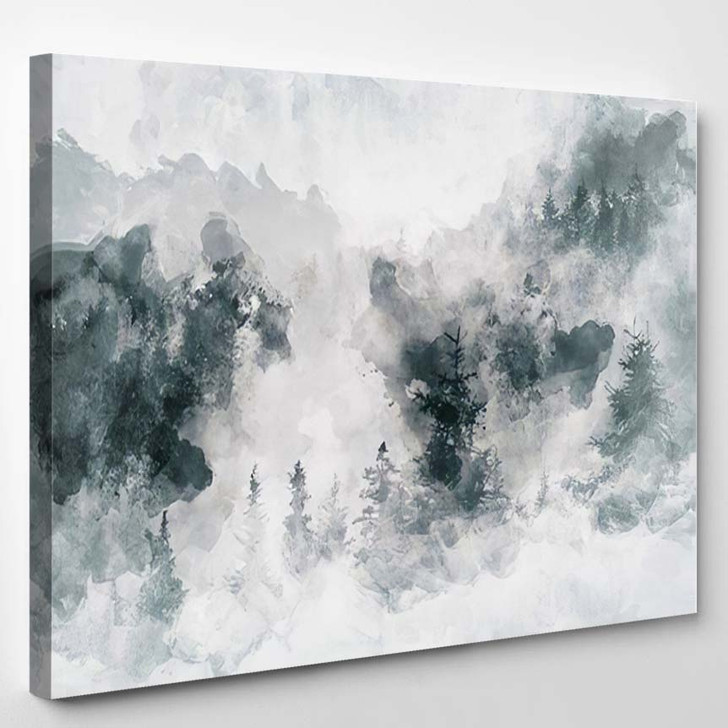 Abstract Art Work Showing Dark Forest - Abstract Art Canvas Art Print