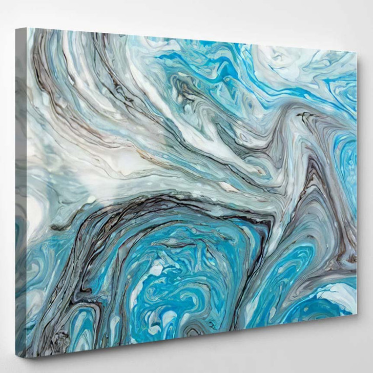 Abstract Beautiful Blue Marble Pattern Black - Abstract Art Canvas Art Print