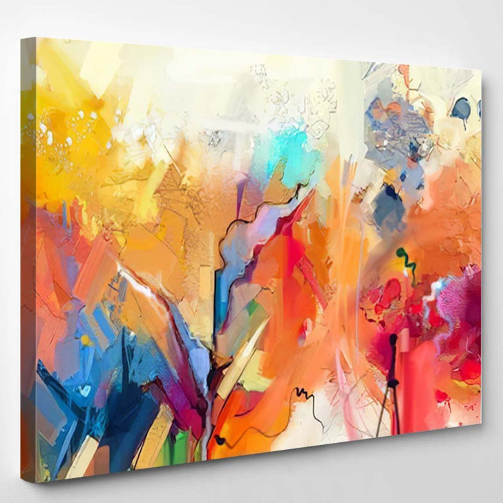 Abstract Colorful Oil Painting On Canvas 19 - Abstract Art Canvas Art Print