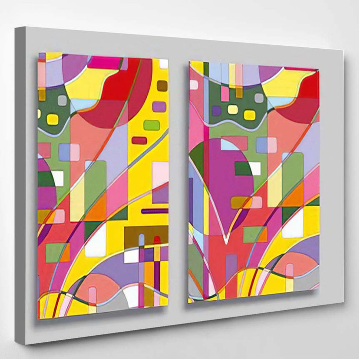 Abstract Composition Geometric Backgrounds Cards Set - Abstract Art Canvas Art Print