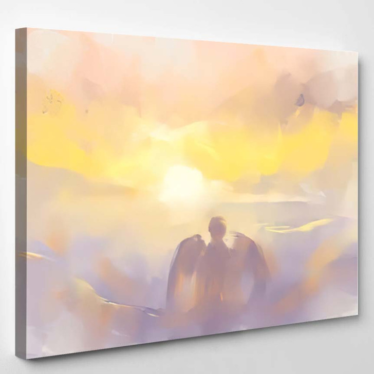 Abstract Digital Painting Angel Cupid On - Abstract Art Canvas Art Print