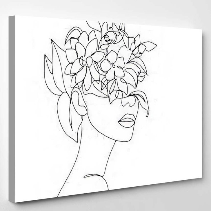 Abstract Face Flowers By One Line - Abstract Art Canvas Art Print