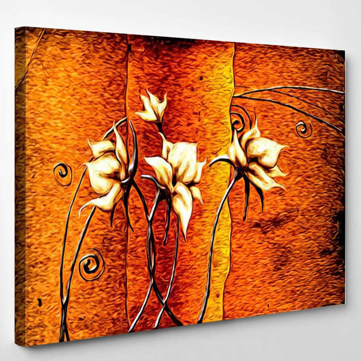 Abstract Flower Oil Painting - Abstract Art Canvas Art Print