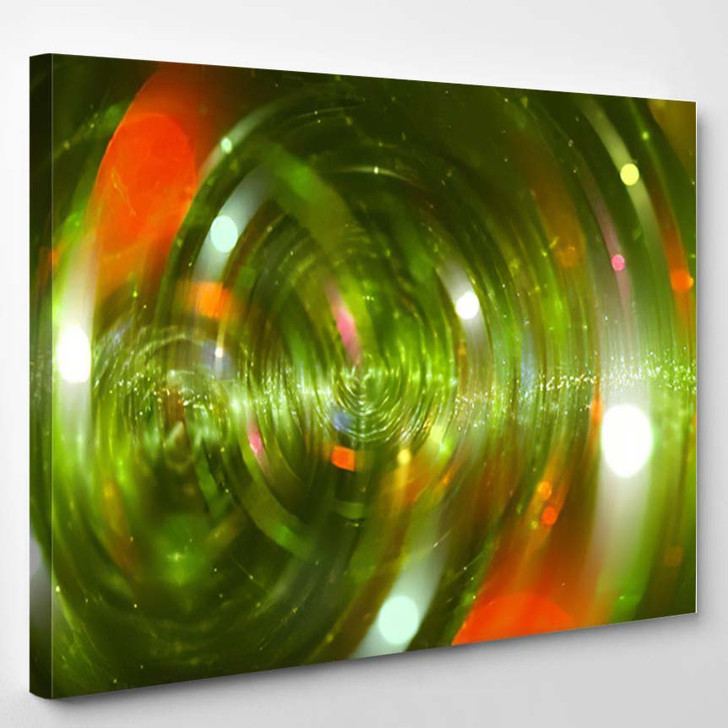Abstract Green Background Scintillating Circles Particles - Abstract Art Canvas Art Print