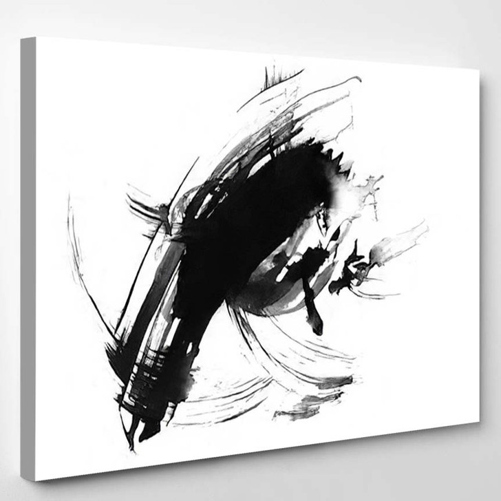 Abstract Ink Painting Artistic Black Pattern 1 - Abstract Art Canvas Art Print