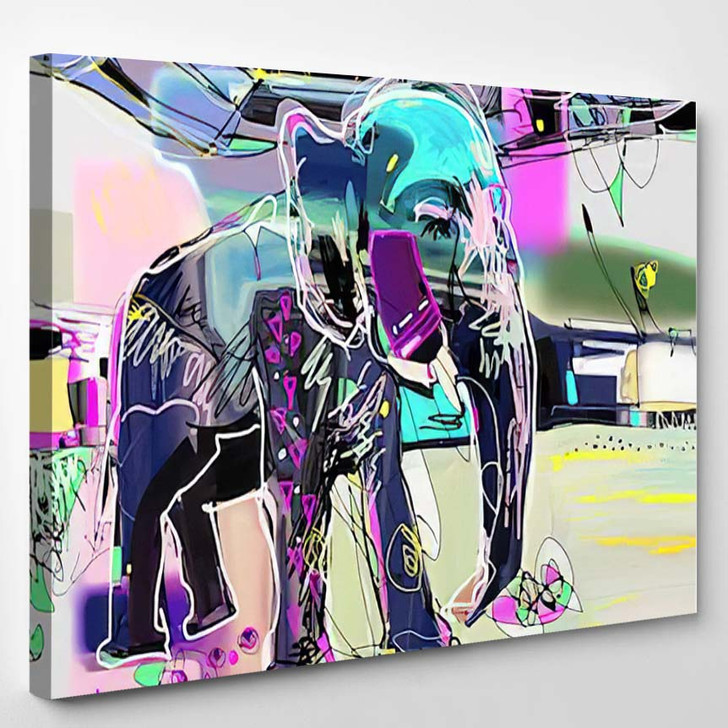 Abstract Memphis Digital Painting Indian Elephant - Abstract Art Canvas Art Print