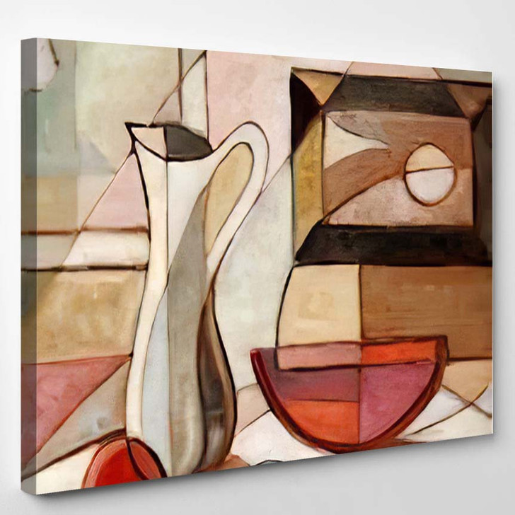 Abstract Oil Painting Still Life Pitcher - Abstract Art Canvas Art Print