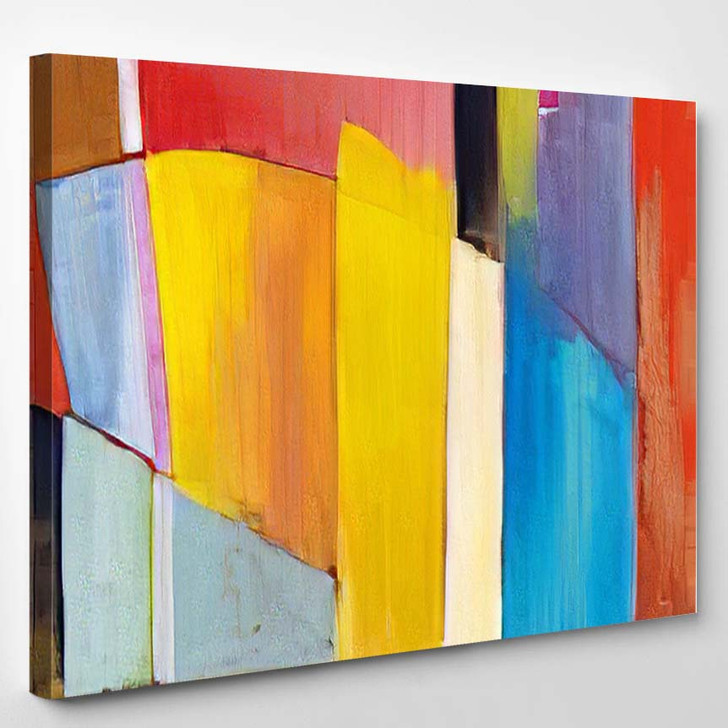 Abstract Painting Bright Blocks Color Composition - Abstract Art Canvas Art Print