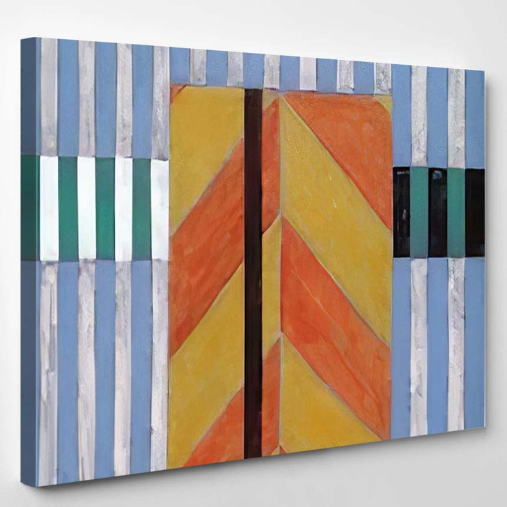 Abstract Painting Constructed Roughly Painted Stripes - Abstract Art Canvas Art Print