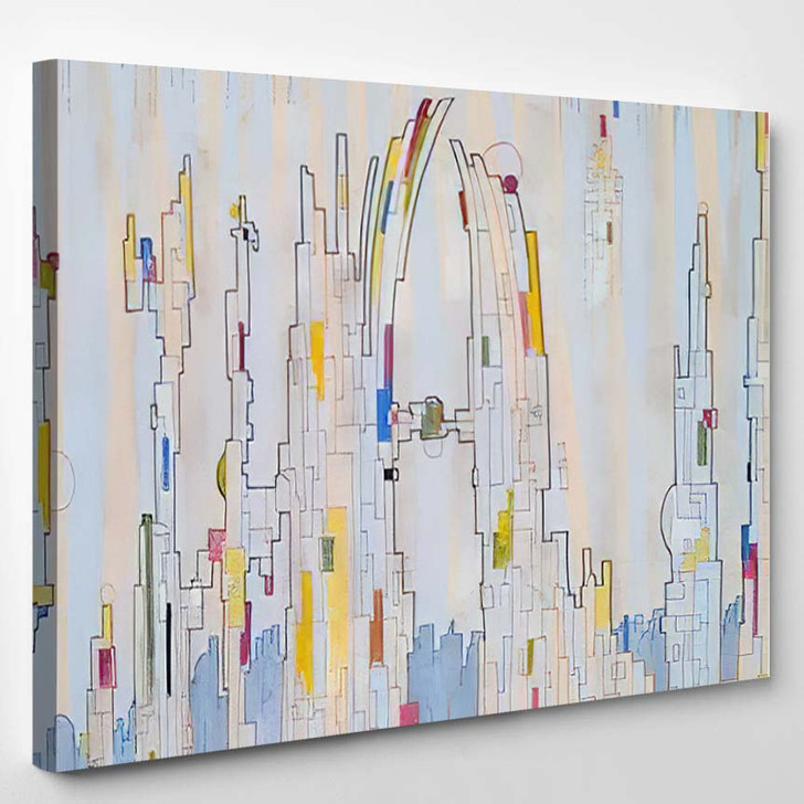 Abstract Painting On Fantasy Urban Theme - Abstract Art Canvas Art Print