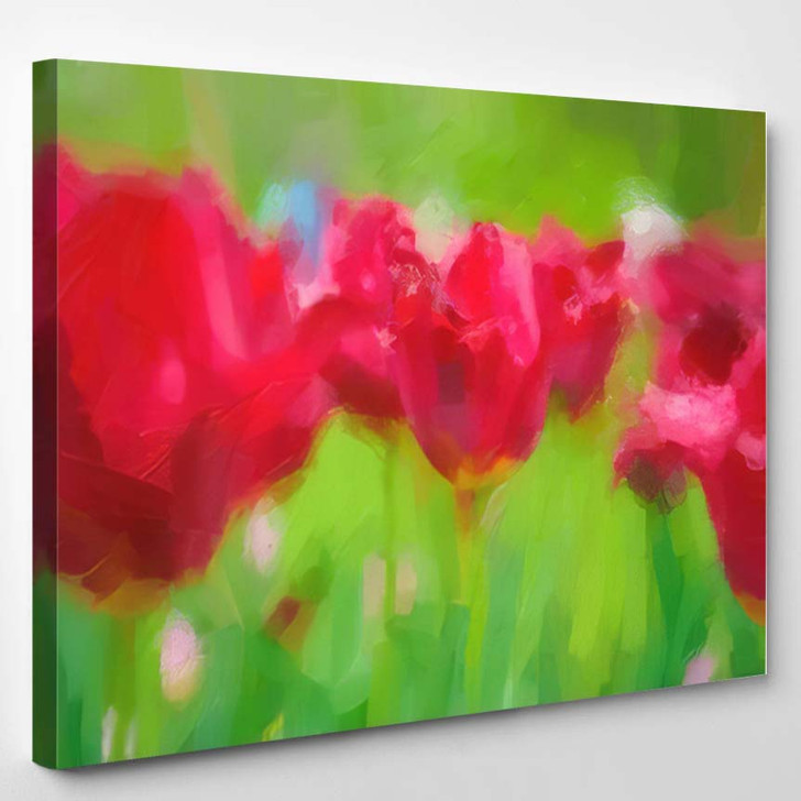 Abstract Red Tulips Painting Flowers Green - Abstract Art Canvas Art Print